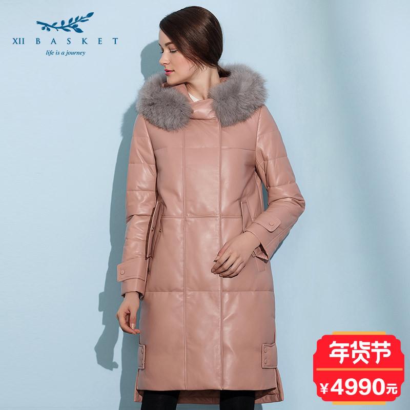 影儿XII BASKET十二篮冬季粉红连帽收腰修身时尚中长皮羽绒Y