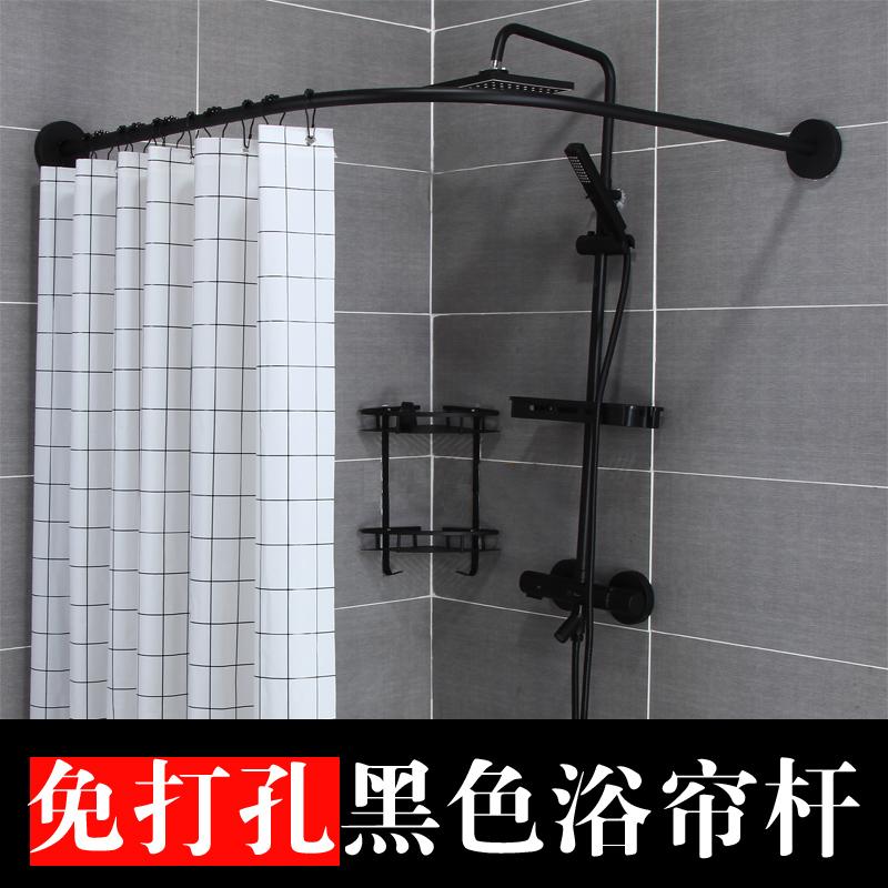 浴帘杆弧形免打孔卫生间干湿套装转角浴室防水布U形L型伸缩浴帘杆