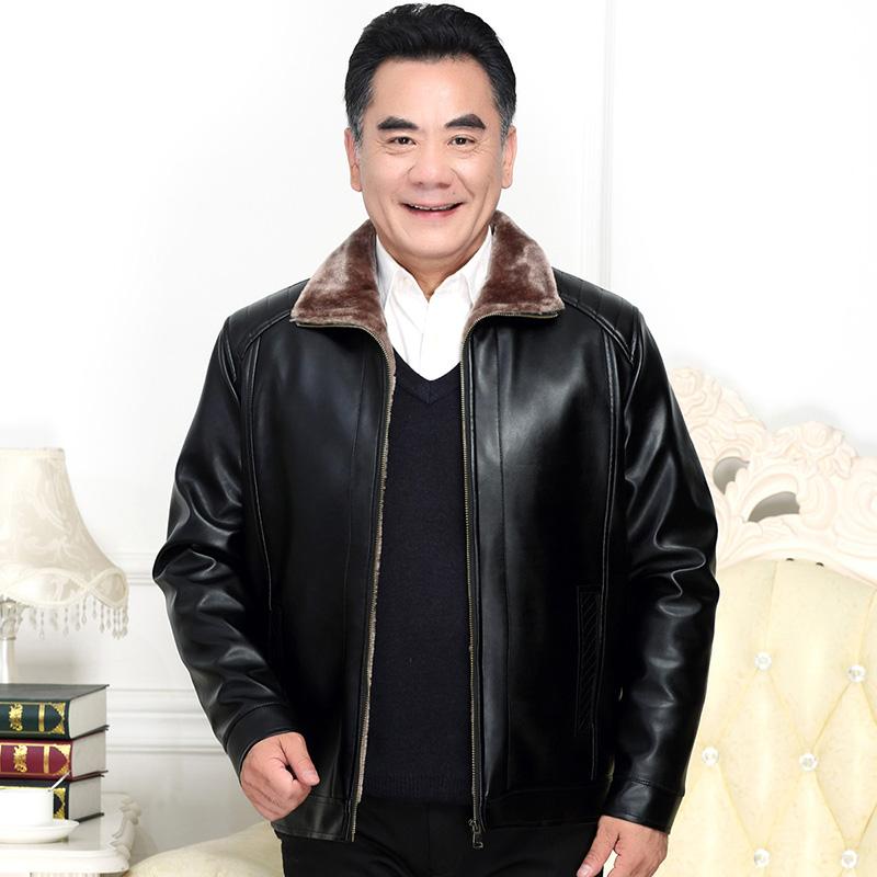 冬季新款中老年人加绒加厚皮衣男装大码爸爸外套中年男士皮夹克男