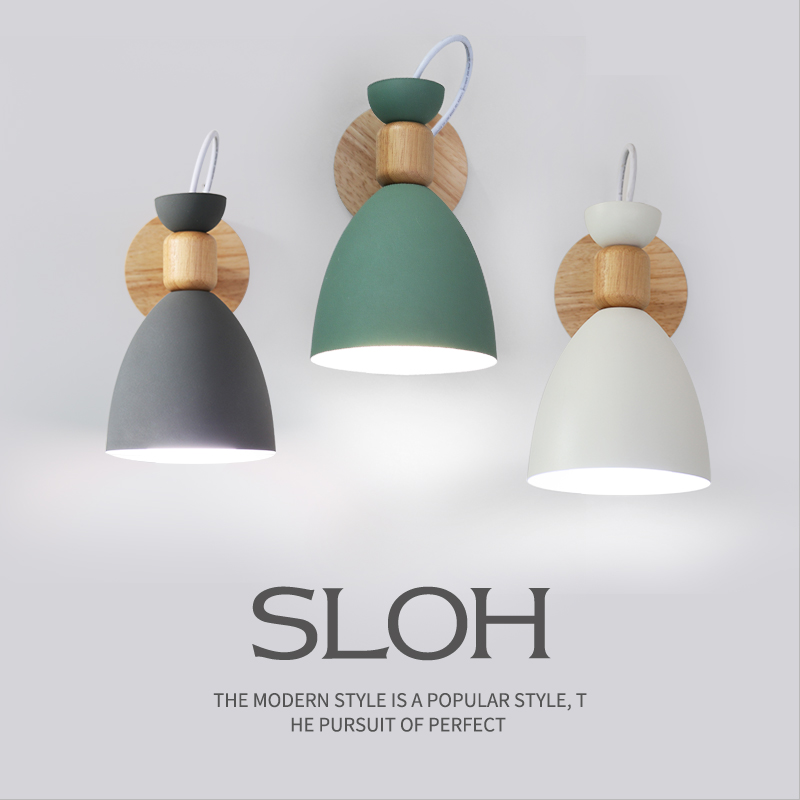 北欧实木卧室壁灯 现代简约马卡龙背景灯设计师创意过道床头灯具