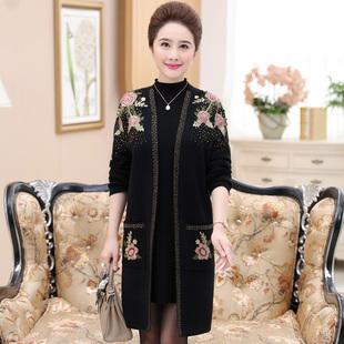 中老年女装刺绣花外套中长款羊绒风衣高档大码妈妈装羊毛开衫大衣