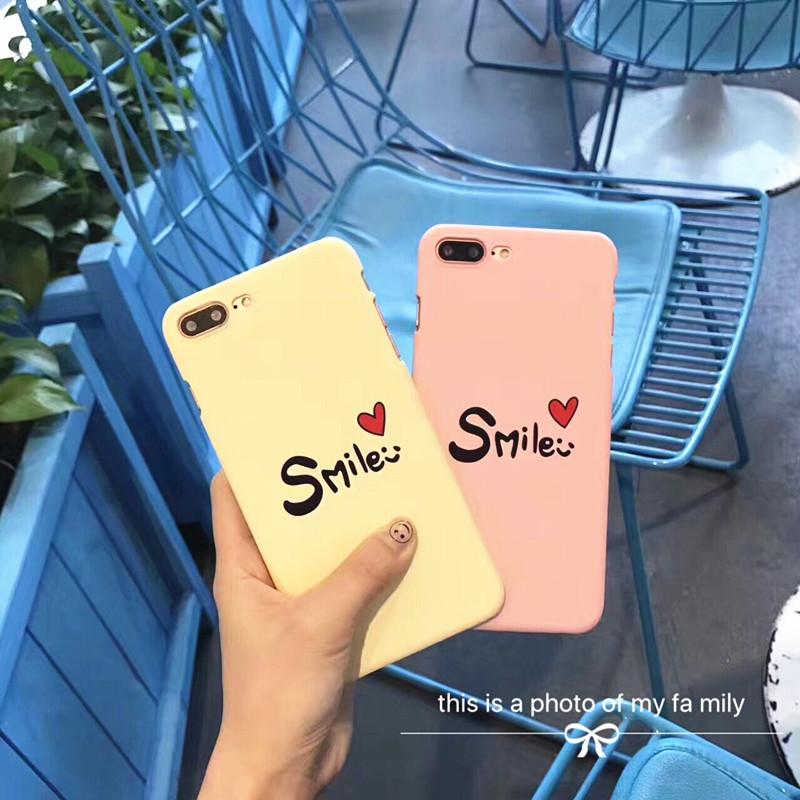 日韩简约字母微笑爱心苹果7plus手机壳iphone6s半包磨砂硬壳创意