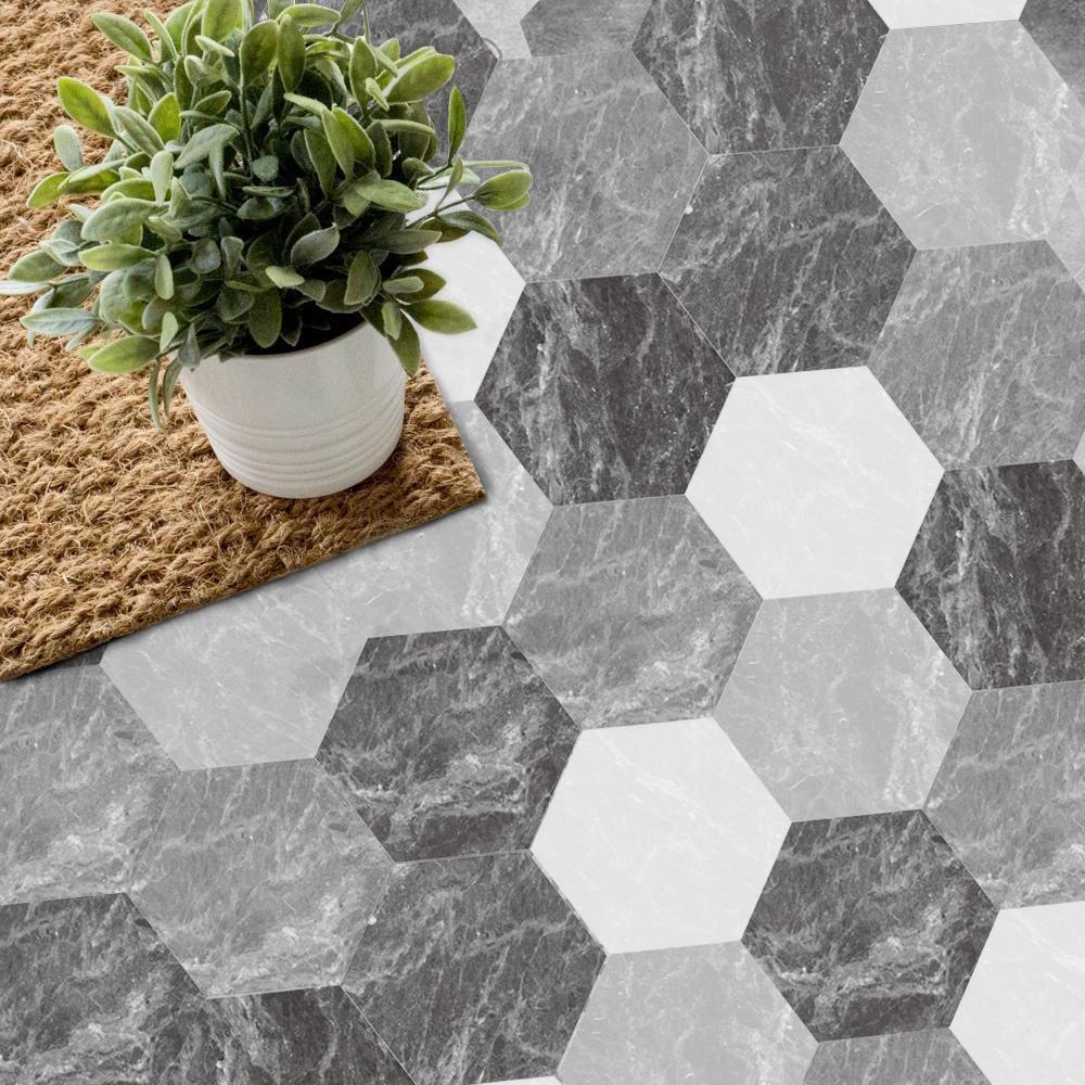 北欧防滑六角地贴客厅地板贴瓷砖贴纸地面装饰卫生间防水耐磨自粘