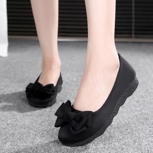 新款老北京布鞋女鞋平底软底豆豆鞋单鞋时尚舒适孕妇鞋黑色工作鞋图片