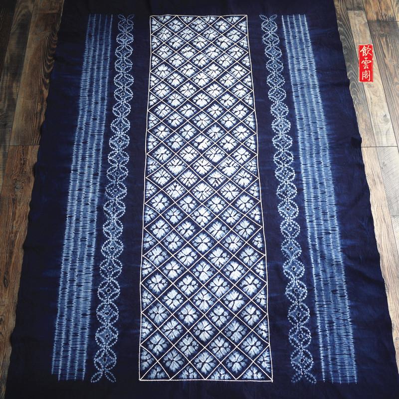 云南大理扎染桌布纯棉布植物蓝染长方民族风挂饰茶几布165×115cm