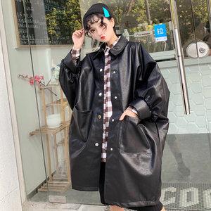 原宿bf风衣女装中长款港风宽松纯色九分袖上衣秋季大码休闲外套潮