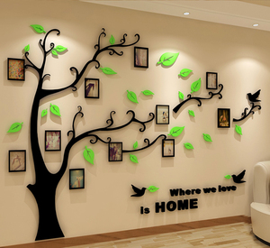 Creative 3d crystal stereo wall sticker acrylic photo tree sofa living room tv background wall bedroom home accessories