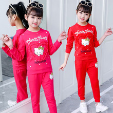 女童秋装套装中大zi5童(小)女孩tm衣服运动新款洋气纯棉两件套