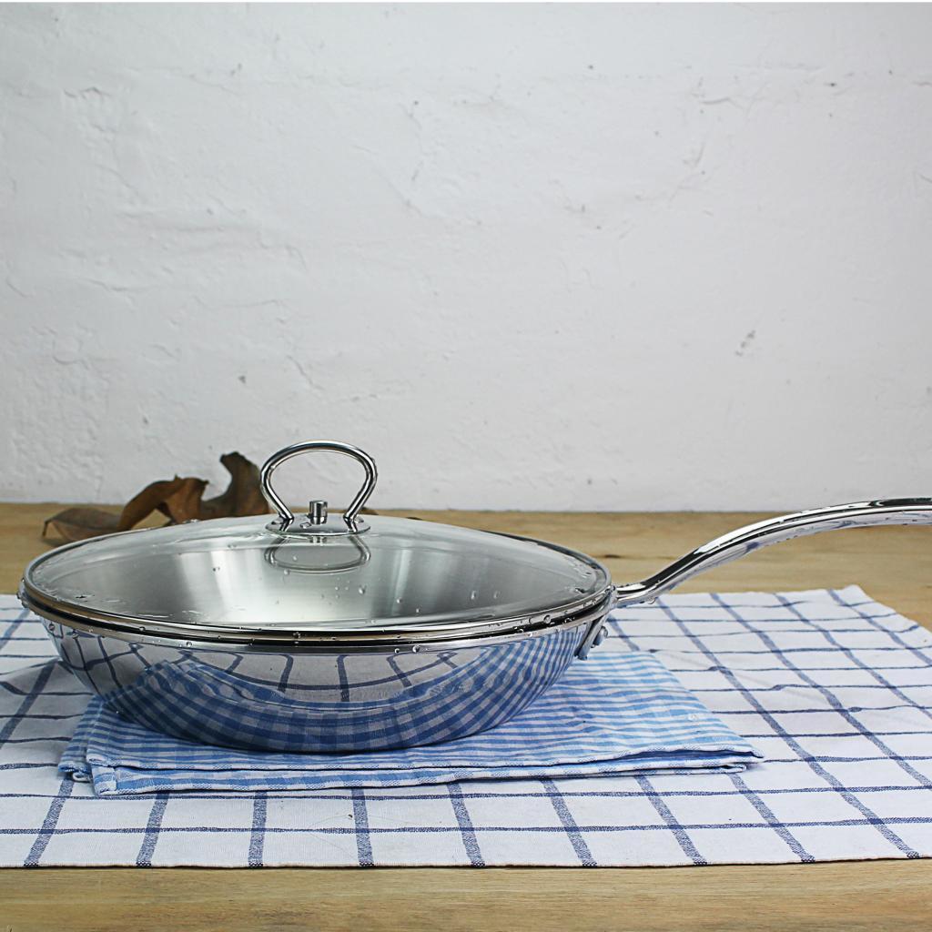 超厚重 瑞士单18/10不锈钢28cm无涂层不粘锅平底锅少油烟炒锅煎锅