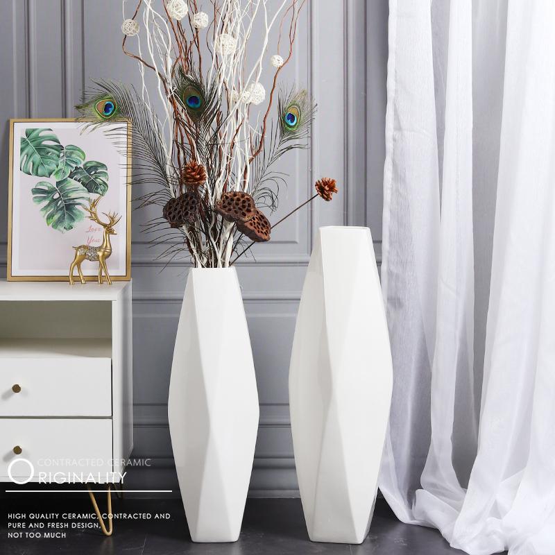 落地花瓶大号陶瓷高北欧现代简约装饰品套装客厅干花插花玄光摆件