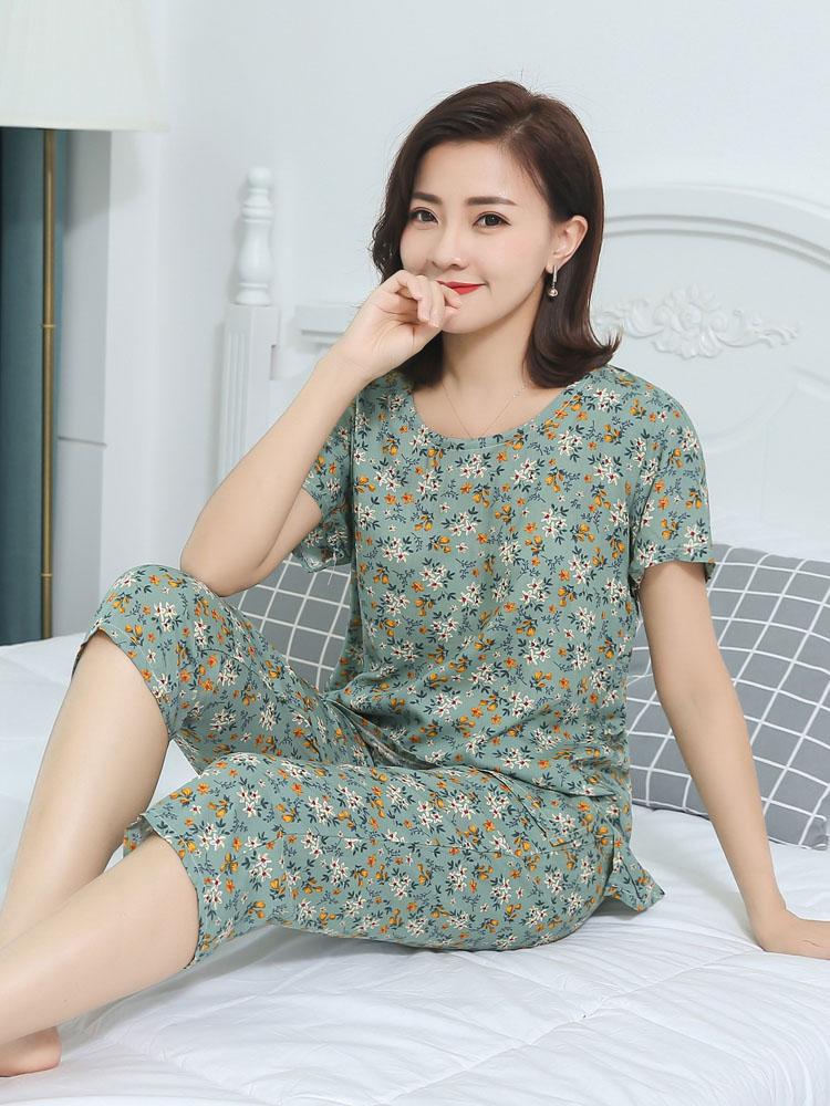 睡衣女夏季纯棉绸短袖短裤套装甜美宽松韩版清新中年女装薄家居服