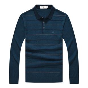 稻草人男士长袖t恤秋季薄款针织衫毛衣中老年含羊毛翻领中年男装图片