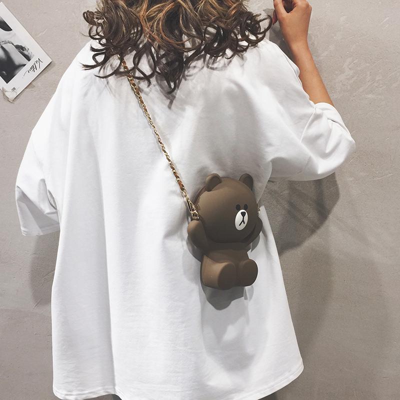卡通小包包女包新款2019可爱迷你手机包小熊包少女链条单肩斜挎包