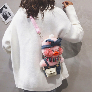 Plush bag women's bag new 2019 cute hyaluronic duck cartoon bag chain doll ugly cute shoulder messenger bag