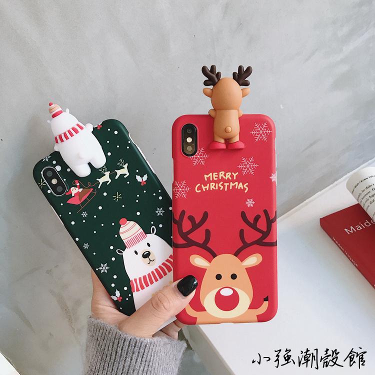 <b>立体趴趴圣诞麋鹿xs max苹果X手机壳iphone8plus/7雪人</b>