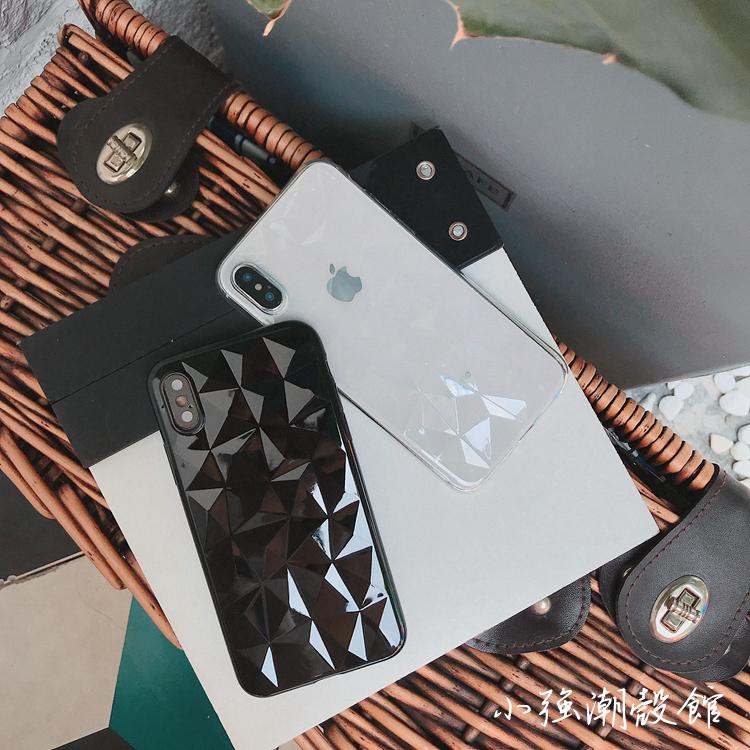 简约立体菱格苹果x手机壳iPhone7/8Plus超薄透明6/6S情侣硅胶软壳