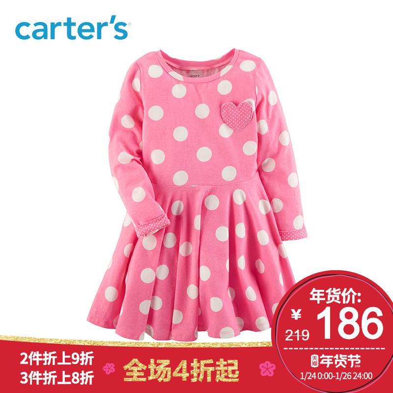 Carter's1件式粉色波点爱心长袖连衣裙公主裙女幼儿中童装251G498