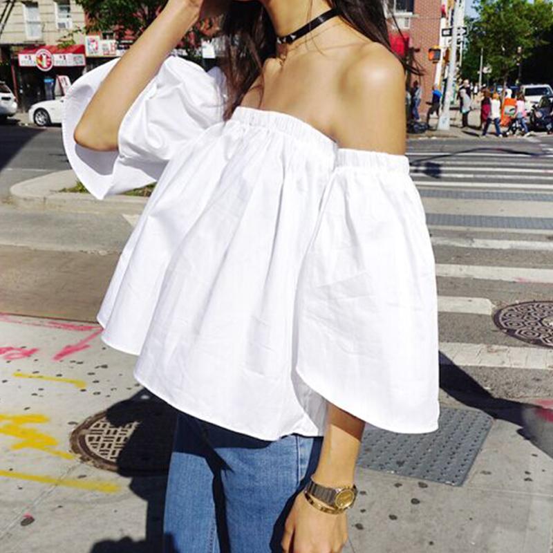 韩版chic小清新一字肩上衣原宿小心机喇叭袖露肩一字领娃娃衬衫女