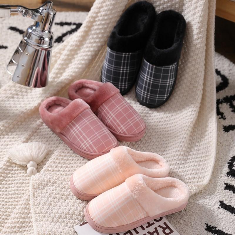 棉拖鞋女家居冬季保暖厚底加绒毛毛托鞋情侣室内防滑棉拖鞋家用男