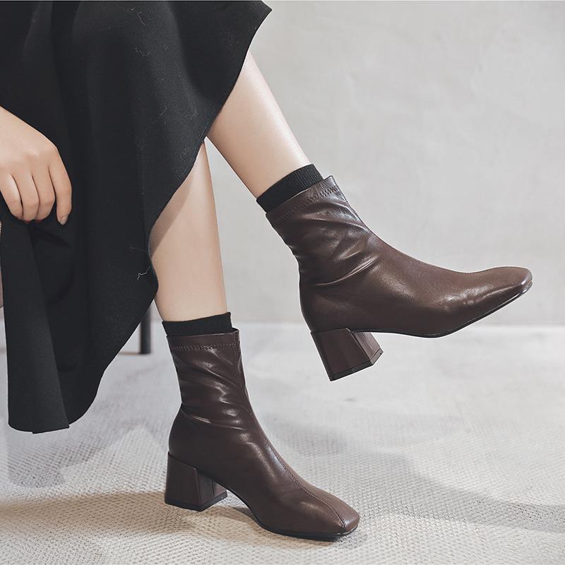 袜靴弹力靴女短靴女粗跟中跟韩版2019冬新款方头套脚马丁靴瘦瘦靴