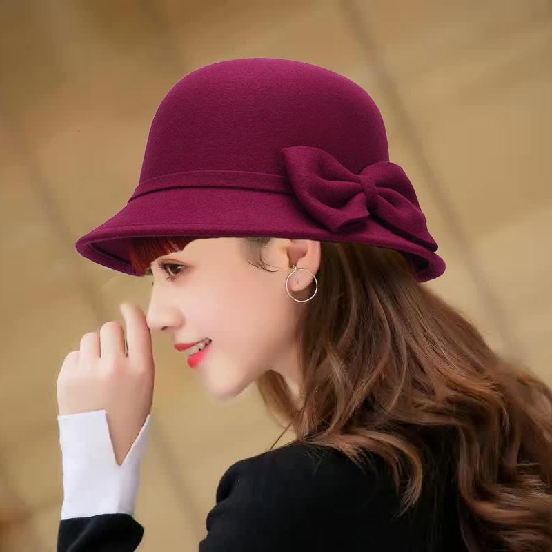 冬天帽子女时尚百搭渔夫帽优雅女款圆顶蝴蝶结礼帽英伦毛呢盆帽