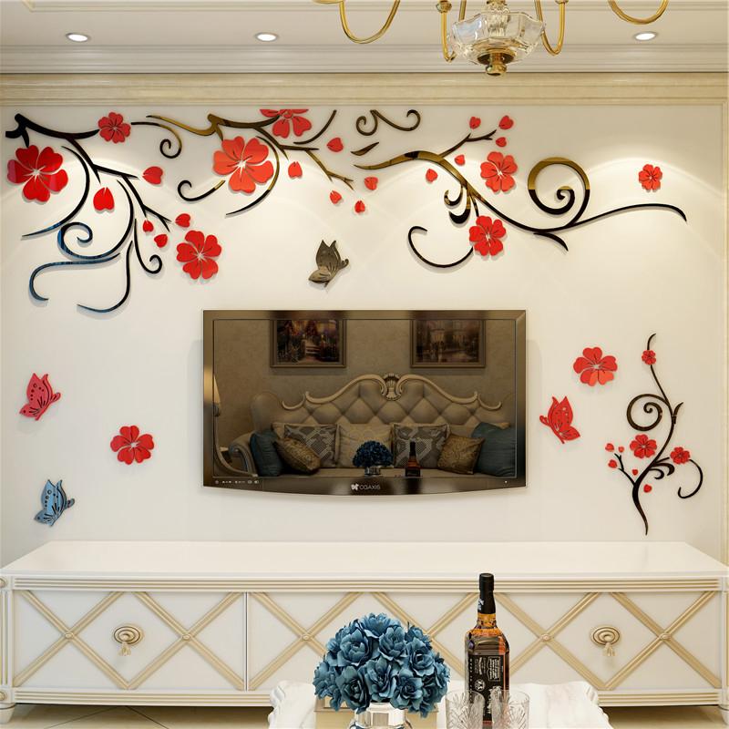 客厅电视背景墙贴壁纸自粘卧室温馨墙面装饰画3d立体亚克力墙贴画
