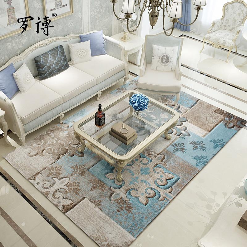 罗博 卧室沙发现代简约客厅地毯地中海可水洗茶几毯欧式家用北欧