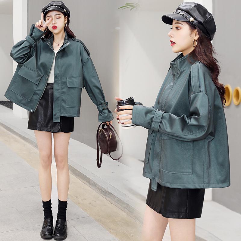 2020年春季气质时尚PU皮衣舒适休闲长袖宽松优雅 P160-朵朵美品会-