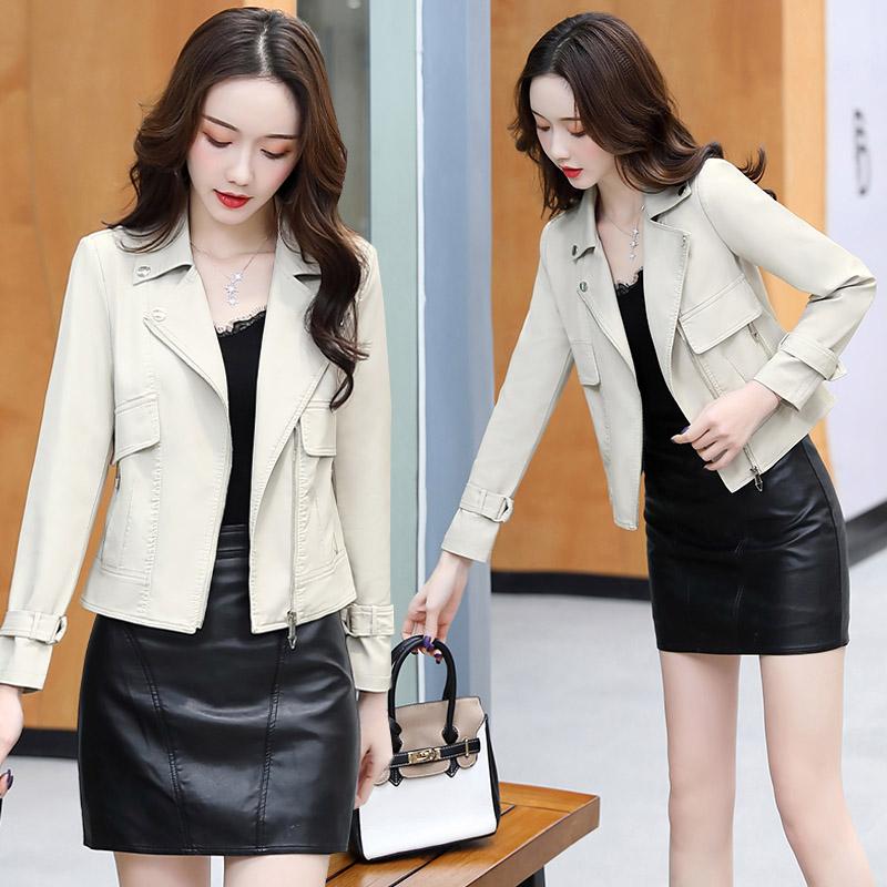2020年秋季短款修身时尚皮衣舒适休闲长袖纯色气质 P170-朵朵美品会-