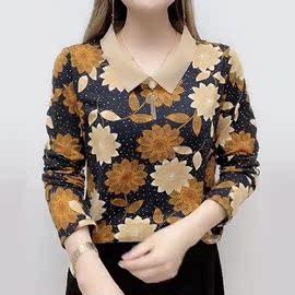 秋季新款中年大码女装打底衫40岁50妈妈装T恤减龄时尚中老年上衣