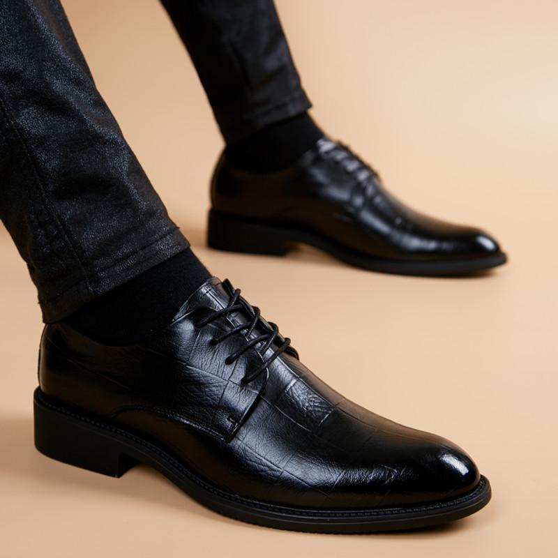[¥133]皮鞋男真皮商务休闲内增高软底男鞋青年英伦尖头透气潮流正装皮鞋