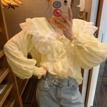 ◆张静芝韩国东大门 网纱蕾丝大翻领小鹅黄褶皱灯笼袖系扣衬衫女
