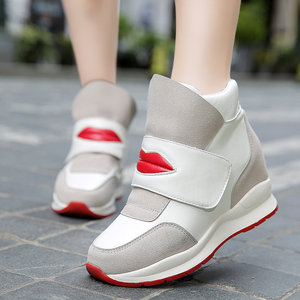Autumn and winter women's shoes plus velvet Velcro increase small size 34 Korean casual high-top sports two cotton shoes ladies shoes
