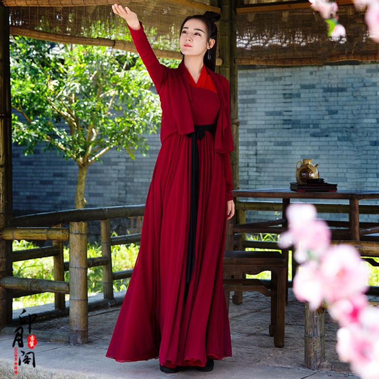 影视装烈火如歌迪丽热巴同款古装侠女服仙女装红色写真古装演出服