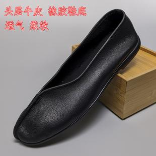 鞍鞋牛皮鞋手工民族风透气包邮老北京男鞋老头鞋便鞋功夫鞋懒汉鞋