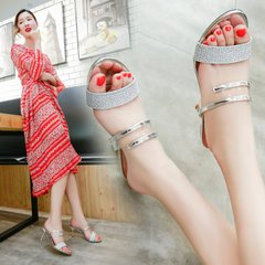 凉鞋,夏季,新款,一字型,韩版,时尚,百搭,女士,防滑,女鞋潮,金色