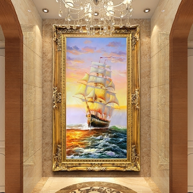 欧式玄关手绘油画走廊过道装饰画美式挂画办公室帆船壁画一帆风顺