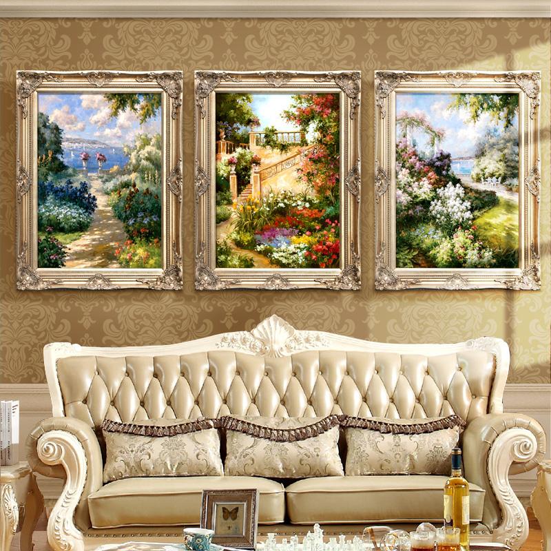 欧式三联画定制客厅餐厅挂画玄关画手绘油画地中海风景酒店装饰画