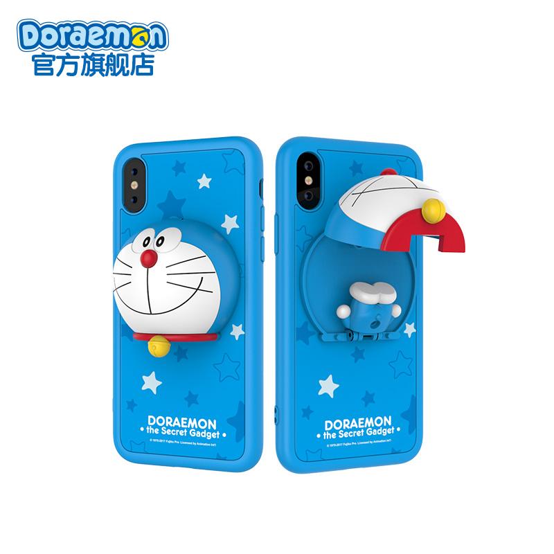 哆啦a梦苹果X手机壳iphoneX手机套保护壳玩趣公仔手机座支架