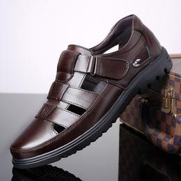 名牌品质男鞋夏季中年男式真皮镂空透气凉皮鞋中老年爸爸软底凉鞋