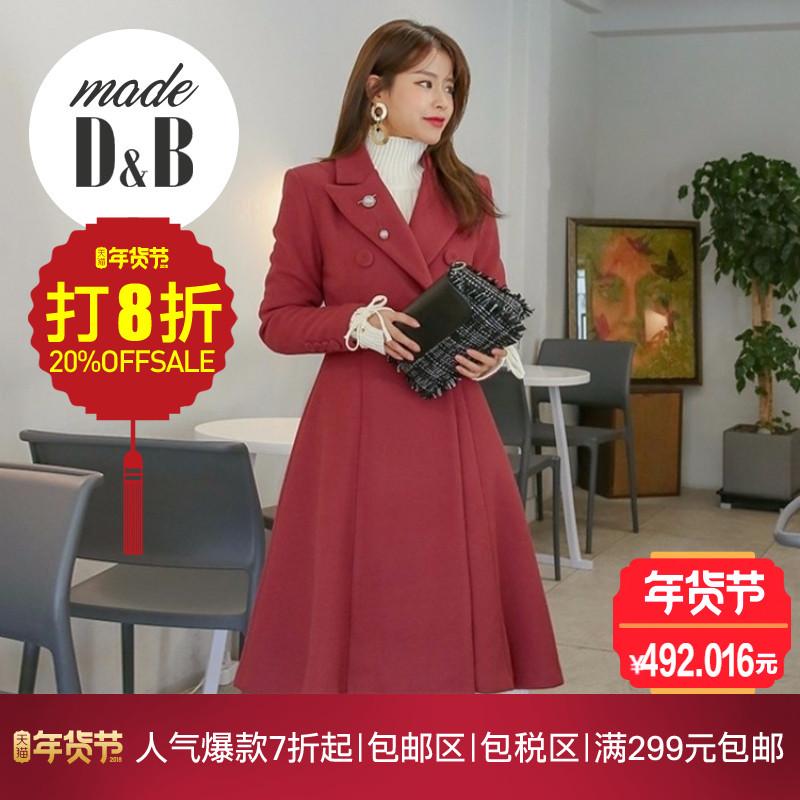 韩国正品DABAgirl2018冬季新款韩版女装自创品牌双排扣荷叶摆大衣