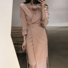 韩国chicy13款复古一16收腰显瘦中长款不规则下摆连衣裙女