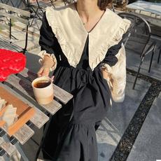 韩国chic洋气大翻领撞色压褶系带收腰宽松下摆荷叶边连衣裙长裙女