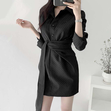 韩国chic轻熟优雅翻gs8单排扣不bl系带条纹衬衫连衣裙短裙女