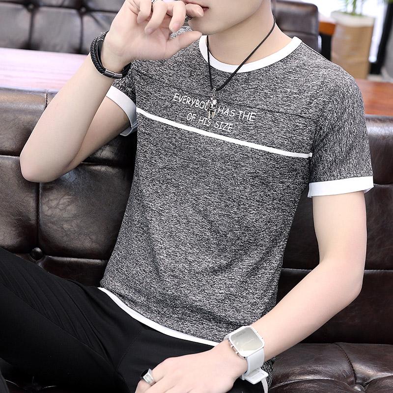 夏季T恤男士短袖潮牌阳离子冰丝韩版潮流修身半袖学生体恤上衣服