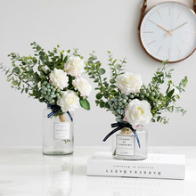 Scandinavian Fake Rose Bundle Living Room Table Decorative Flowers Eucalyptus Fake Bundle Arrangements