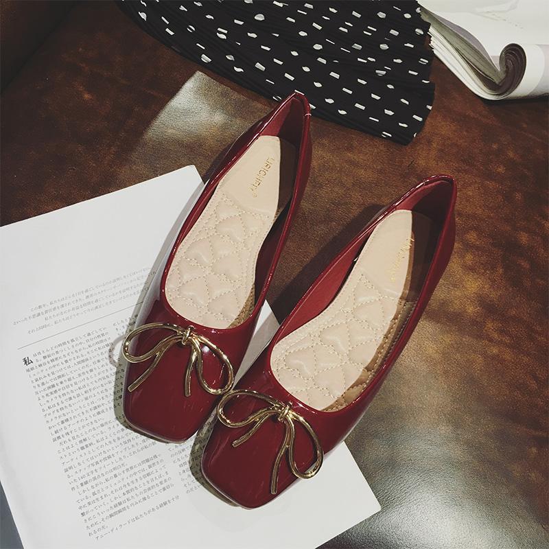 2018春季酒红色蝴蝶结浅口方头瓢鞋时尚漆皮芭蕾舞百搭单鞋女平底