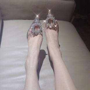 水钻凉鞋女仙女风2020夏新款尖头透明高跟鞋女细跟水晶鞋ins网红