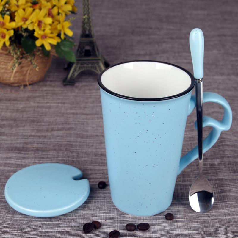 简约陶瓷杯子牛奶杯咖啡杯情侣水杯带盖勺耳朵型喝水杯马克杯定制