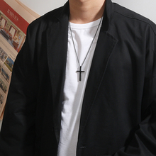 潮男黑色十字架项链欧美嘻哈个ne11简约钛um百搭情侣吊坠